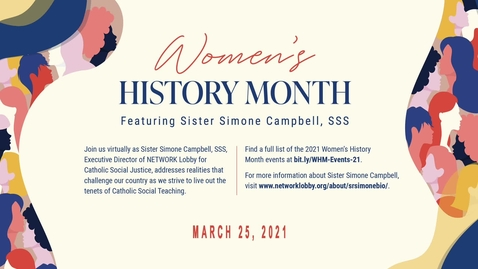 Thumbnail for entry Women's History Month Lecture: Walking Toward Trouble: Democracy for the 100%, featuring Speaker Sister Simone Campbell, SSS