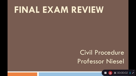Thumbnail for entry Civil Procedure Final Review