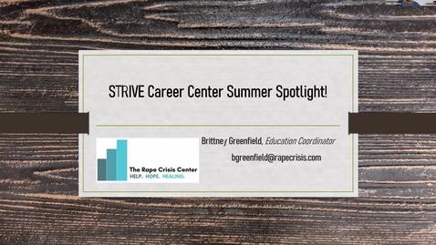 Thumbnail for entry RCC STRIVE Summer Spotlight