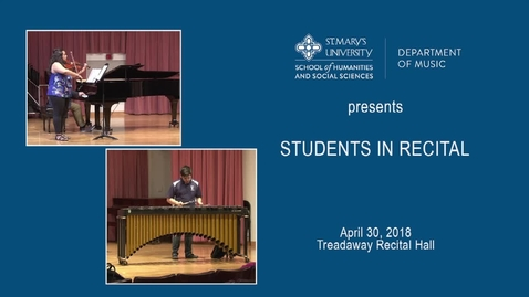 Thumbnail for entry Students in Recital ---April 30, 2018