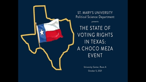 Thumbnail for entry The State of Voting Rights in Texas --October 5, 2021