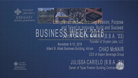 Thumbnail for entry 2016 Business Week:  Panel on Entrepreneurship and Innovation