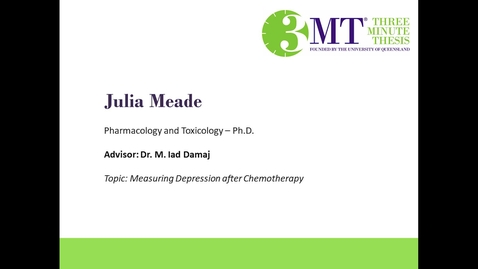 Thumbnail for entry Julia Meade - Measuring Depression After Chemotherapy: VCU 3MT Competition