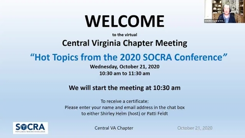 Thumbnail for entry Central VA SOCRA Chapter:  Hot Topics from the 2020 SOCRA Conference – Part I