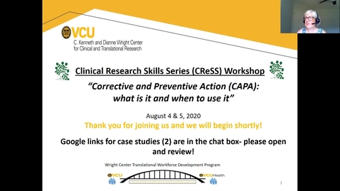 Thumbnail for entry CReSS Workshop:  Corrective and Preventive Action (CAPA):  What is it and when to use it?
