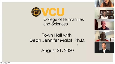 Thumbnail for entry Town Hall with Dean Jennifer Malat (August 21, 2020)