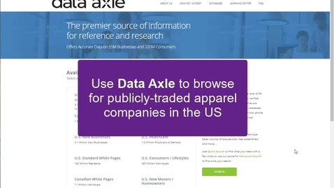 Thumbnail for entry Data Axle: Browse US public apparel companies