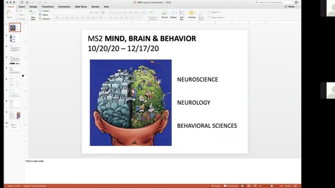Thumbnail for entry 201020 - M2 - 8am - MBB - Basic Organization of the Nervous System - McGinn Greer