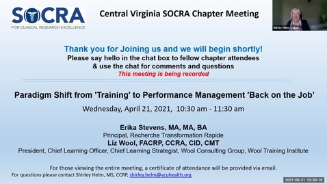 """Thumbnail for entry Central VA SOCRA Chapter:  Paradigm Shift from """"Training"""" to Performance Management """"Back on the Job"""""""