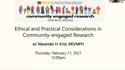 Thumbnail for entry Ethical and Practical Consideration in Community-engaged Research