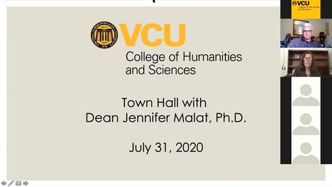 Thumbnail for entry Town Hall with Dean Jennifer Malat, Ph.D. (July 31, 2020)