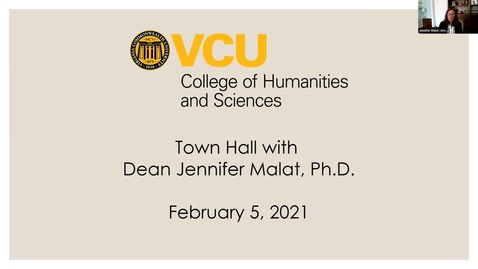Thumbnail for entry Town Hall with Dean Jennifer Malat (February 5, 2021)