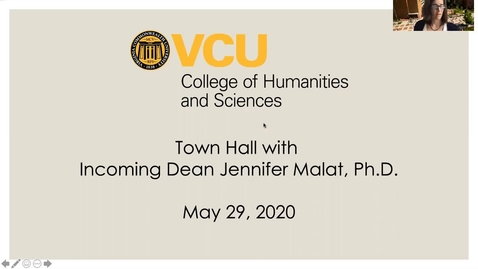 Thumbnail for entry Town Hall with Incoming Dean Jennifer Malat, Ph.D. (May 29, 2020)