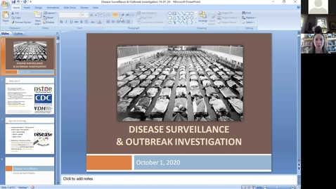 Thumbnail for entry 201001 - 3pm - M1 - POPH - Epidemiologic Surveillance and Epidemic Outbreak Investigation - Pugsley
