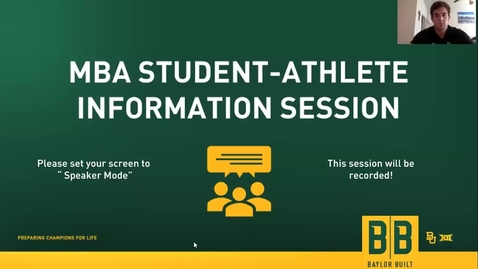 Thumbnail for entry Student-Athlete/MBA Alumni  Panel