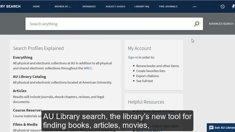 Thumbnail for entry How to Use AU Library Search: Quick Overview