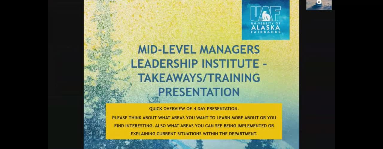 Mid-level Managers Leadership Institute: Takeaways/Training Overview (BBPDS)