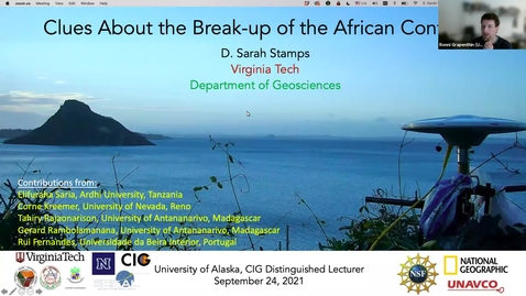 Thumbnail for entry Geoscience Department Seminar, 2021-09-24 - Sarah Stamps: Clues About the Break-up of the African Continent