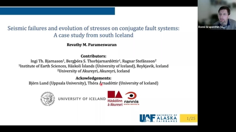 Thumbnail for entry Geoscience Department Seminar, 2021-10-01 - Revathy Parameswaran: Seismic Failures and Evolution of Stresses on Conjugate Faults Systems: A Case Study from South Iceland