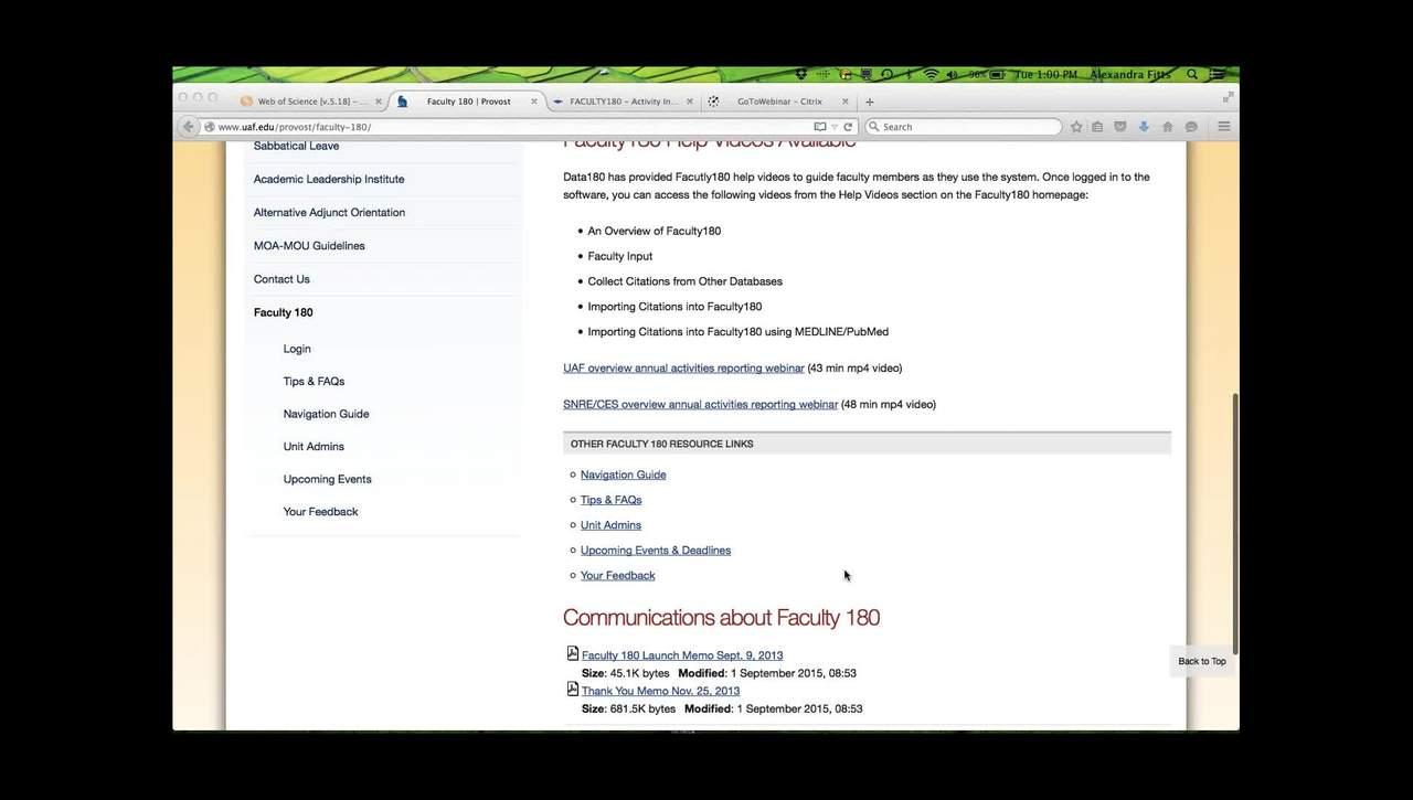 09-08-2015 UAF training webinar on Faculty180