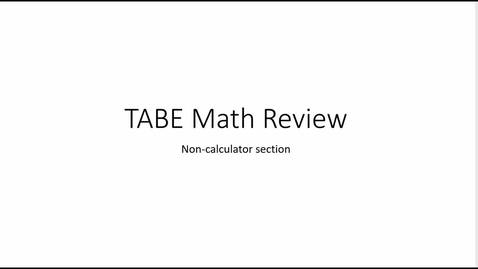 Thumbnail for entry TABE noncalculator review