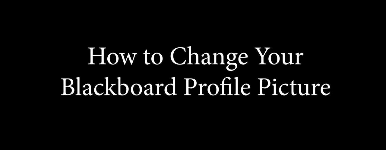 How to Change Your Blackboard Profile Picture