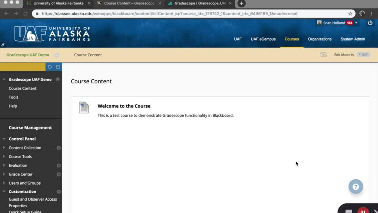 How to Link Your UAF Blackboard Course to Gradescope