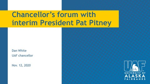 Thumbnail for entry Chancellor's Forum with President Pitney