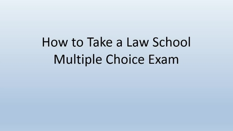 Thumbnail for entry How to take multiple choice exams