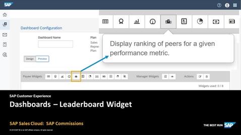 Dashboards: Leaderboard Widget - SAP Sales Cloud: SAP Commissions