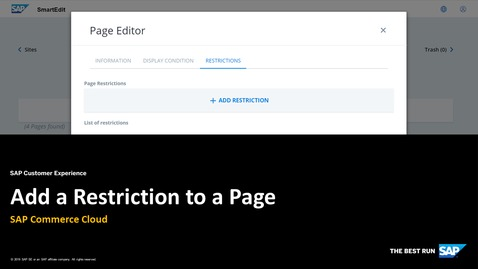 Thumbnail for entry Add a Restriction to a Page -  SAP Commerce Cloud