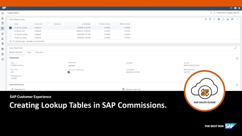 Thumbnail for entry Creating Lookup Tables in SAP Commissions