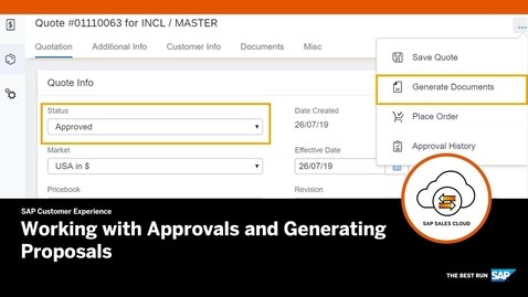 Thumbnail for entry Working with Approvals and Generating Documents - SAP CPQ