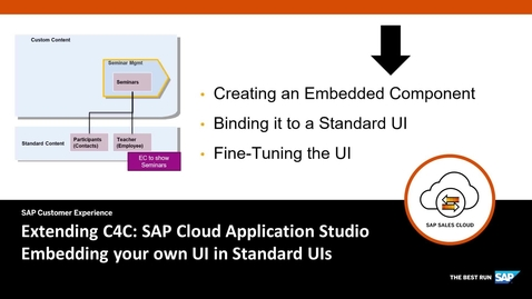 Thumbnail for entry Embedding your UI into Standard UI - Extending SAP Cloud for Customer