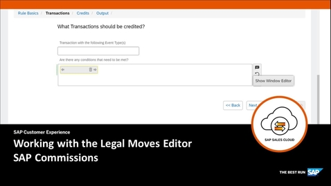 Thumbnail for entry Working with the Legal Moves Editor - SAP Sales Cloud