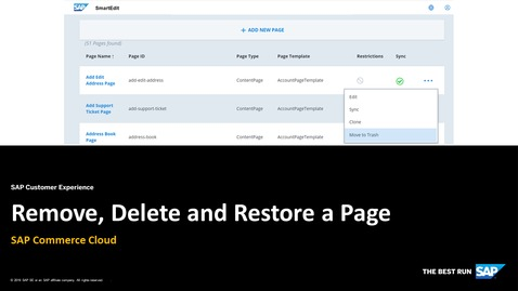 Thumbnail for entry Remove, Delete and Restore a Page - SAP Commerce Cloud