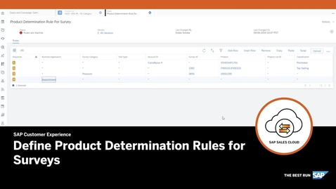 Thumbnail for entry Define Product Determination rules for Survey - SAP Sales Cloud