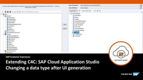 Thumbnail for entry Changing a data type in the Business Object - Extending SAP Cloud for Customer
