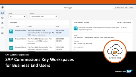 Thumbnail for entry Key Workspaces for Business End Users - SAP Sales Cloud: SAP Commissions
