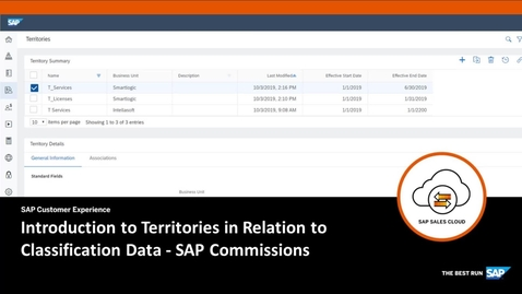 Thumbnail for entry Introduction to Territories in Relation to Classification Data - SAP Commissions