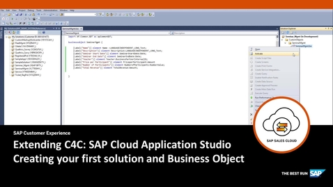 Thumbnail for entry Creating a Business Object - Extending SAP Cloud for Customer