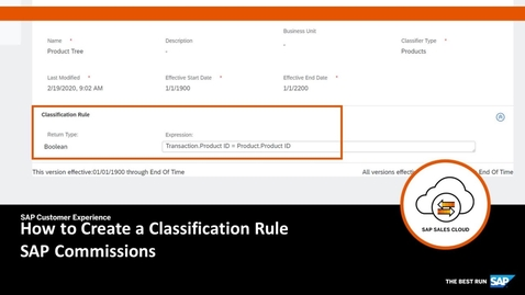 Thumbnail for entry How to Create a Classification Rule - SAP Commissions