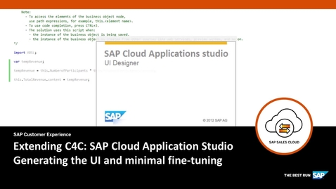 Thumbnail for entry Creating the UI - Extending SAP Cloud for Customer