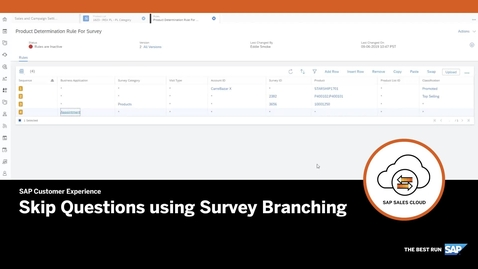 Thumbnail for entry Skip Questions using Survey Branching - SAP Sales Cloud