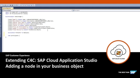 Thumbnail for entry Adding a Node to the Business Object - Extending SAP Cloud for Customer