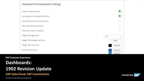 Dashboards: 1902 Revision Update - SAP Sales Cloud: SAP Commissions