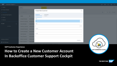 Thumbnail for entry How to Create a New Customer in Backoffice Customer Support Cockpit - SAP Commerce Cloud