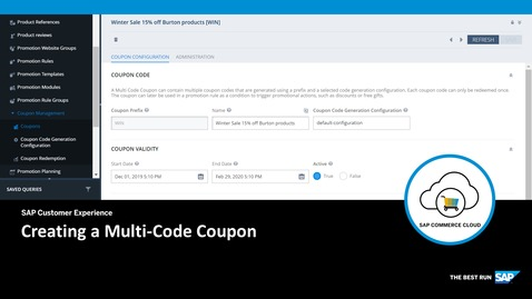 Thumbnail for entry Creating a Multi-Code Coupon - SAP Commerce Cloud