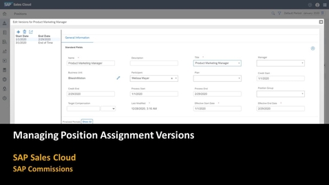 Thumbnail for entry Managing Position Assignment Versions - SAP  Commissions