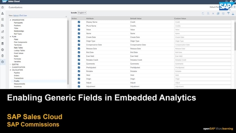 Thumbnail for entry Enabling Generic Fields in Embedded Analytics for SAP Commissions